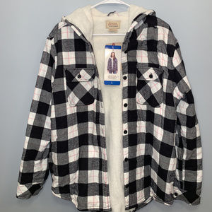 Ladies' Sherpa Lined Hooded Flannel